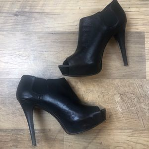 BCBGeneration Leather Peep Toe Booties 9
